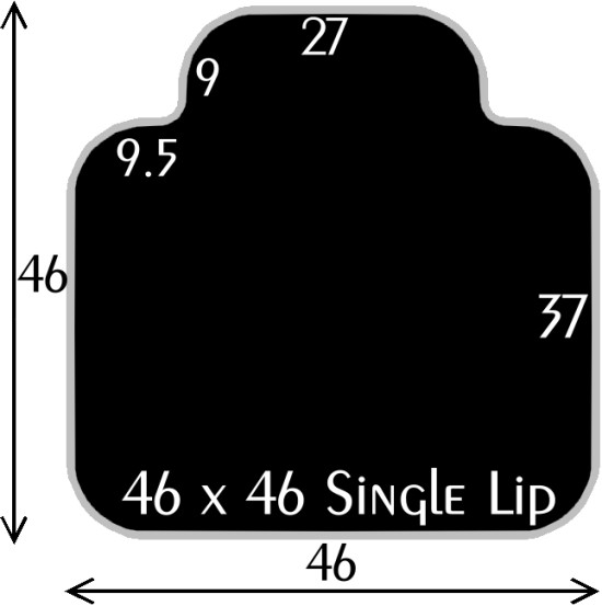 Black Polymer Chair Mats 46x46 with 27x9 Single Lip