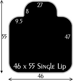 Black Polymer Chair Mats 46x55 with 27x8 Single Lip